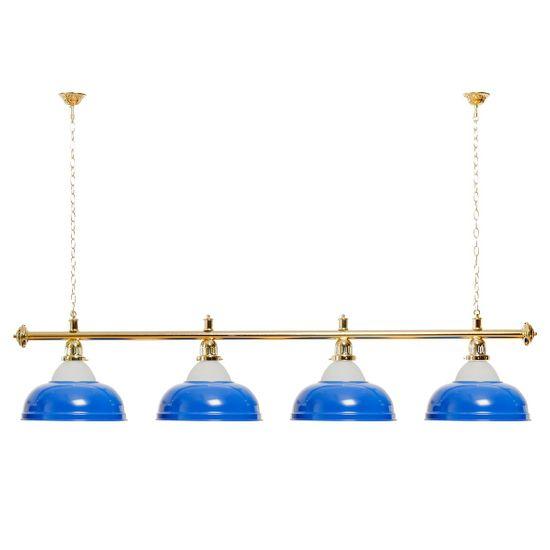 Billardlampe 4 Schirme blau mit Glas / goldfarbene Halterung – Bild 1