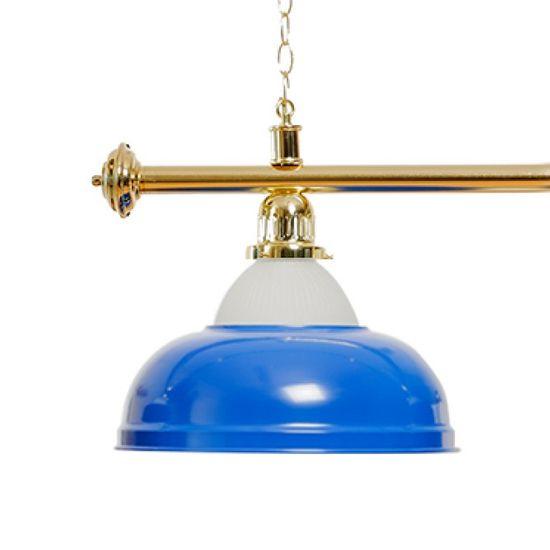 Billardlampe 4 Schirme blau mit Glas / goldfarbene Halterung – Bild 2