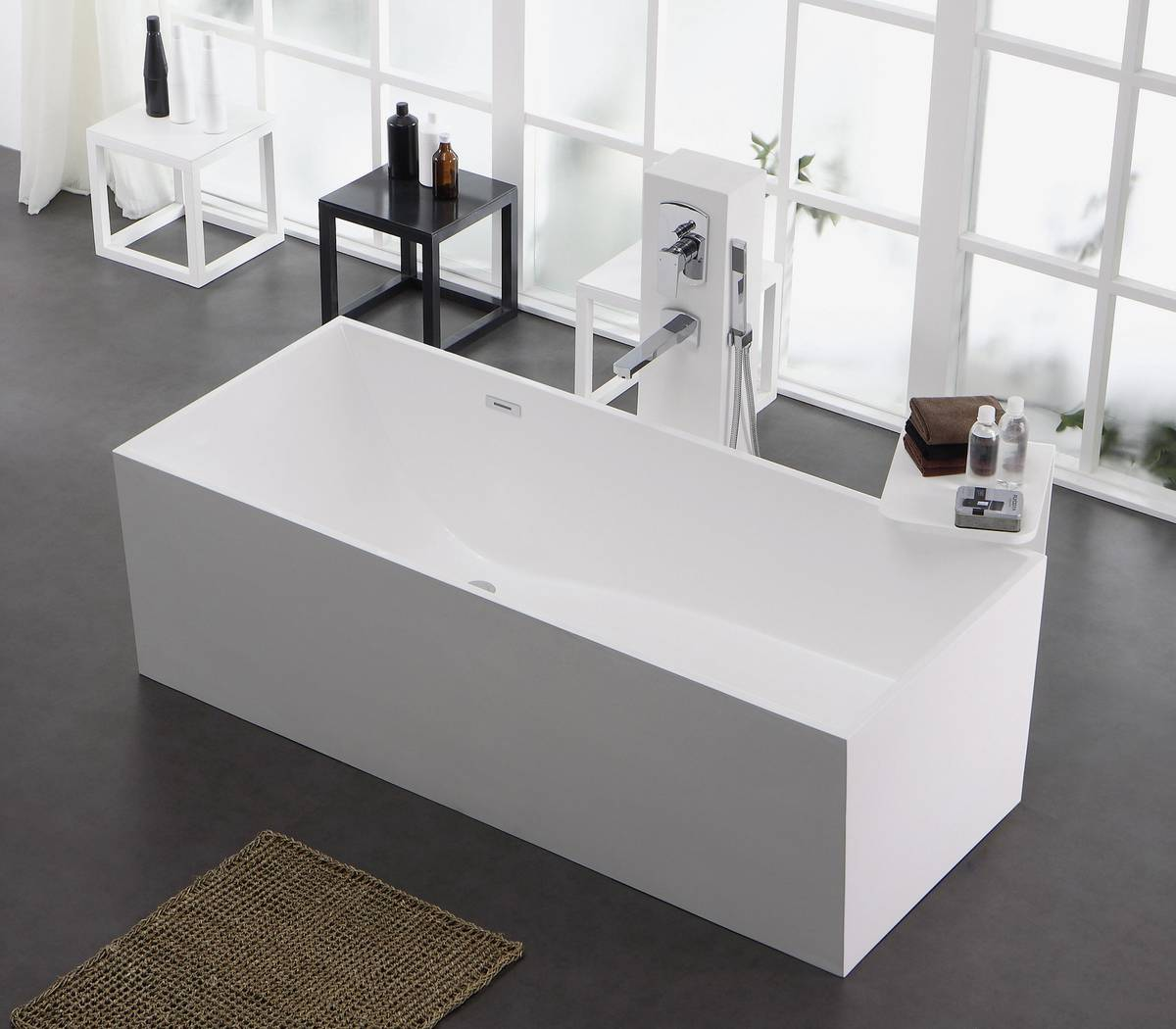 Freistehende badewanne mineralguss oder acryl  Freistehende Badewanne aus Mineralguss KZOAO-1006 Badewelt Wannen ...