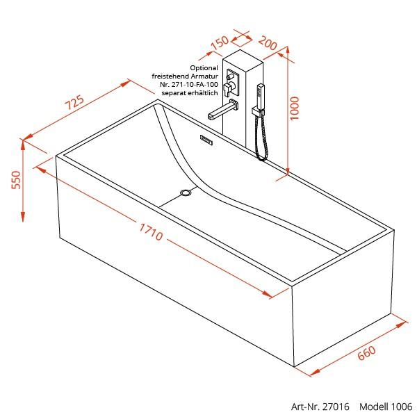 1006 Freistehende Design Badewanne aus Mineralguss 171x73 cm inkl ...