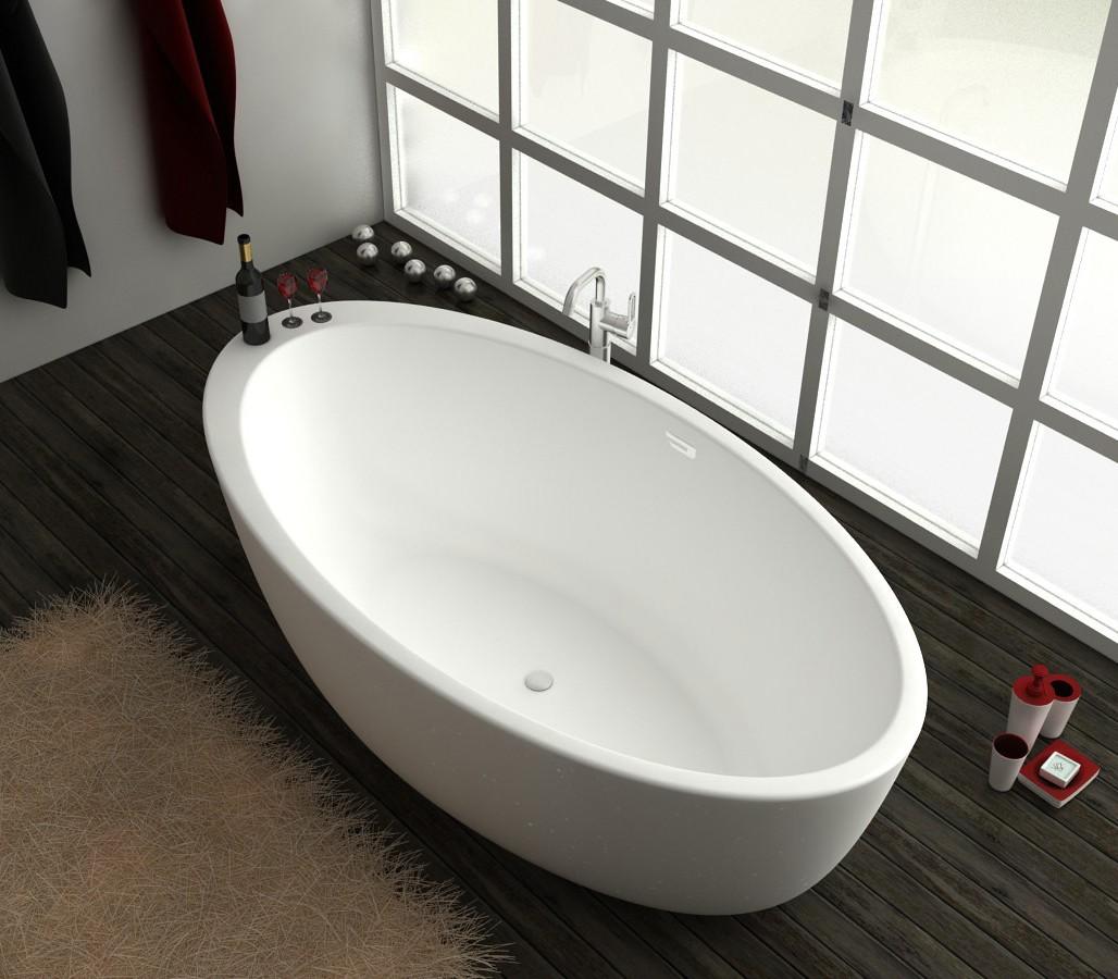 Freistehende badewanne aus mineralguss kzoao 1487