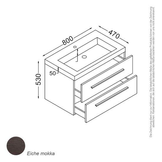 Madrid Waschtisch-Set 80 cm Mokka – Bild 1