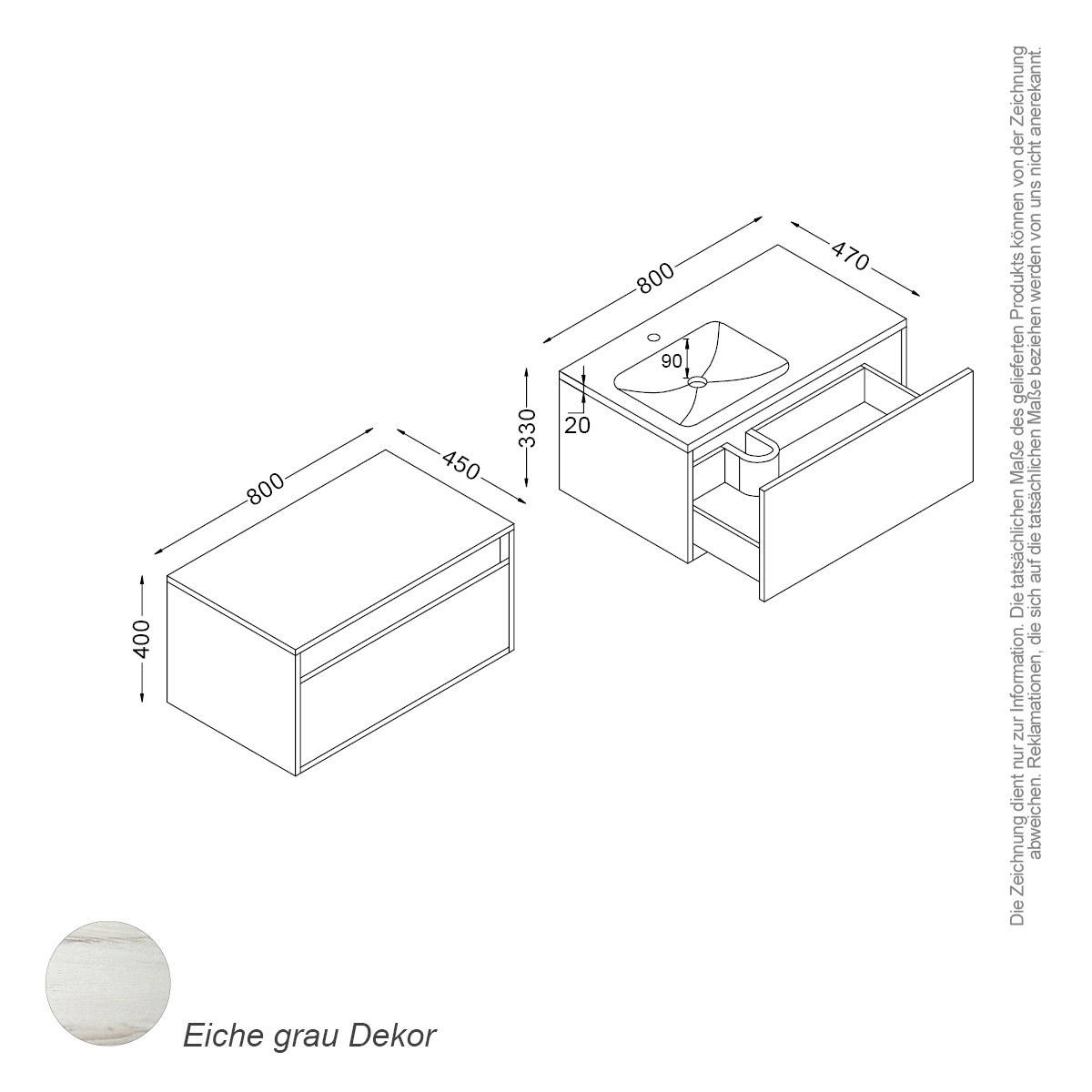 bern set 80 cm eiche grau badewelt badezimmer m bel waschtisch sets bern. Black Bedroom Furniture Sets. Home Design Ideas