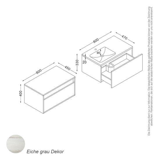 [Paket] Bern Set 80 cm Eiche grau