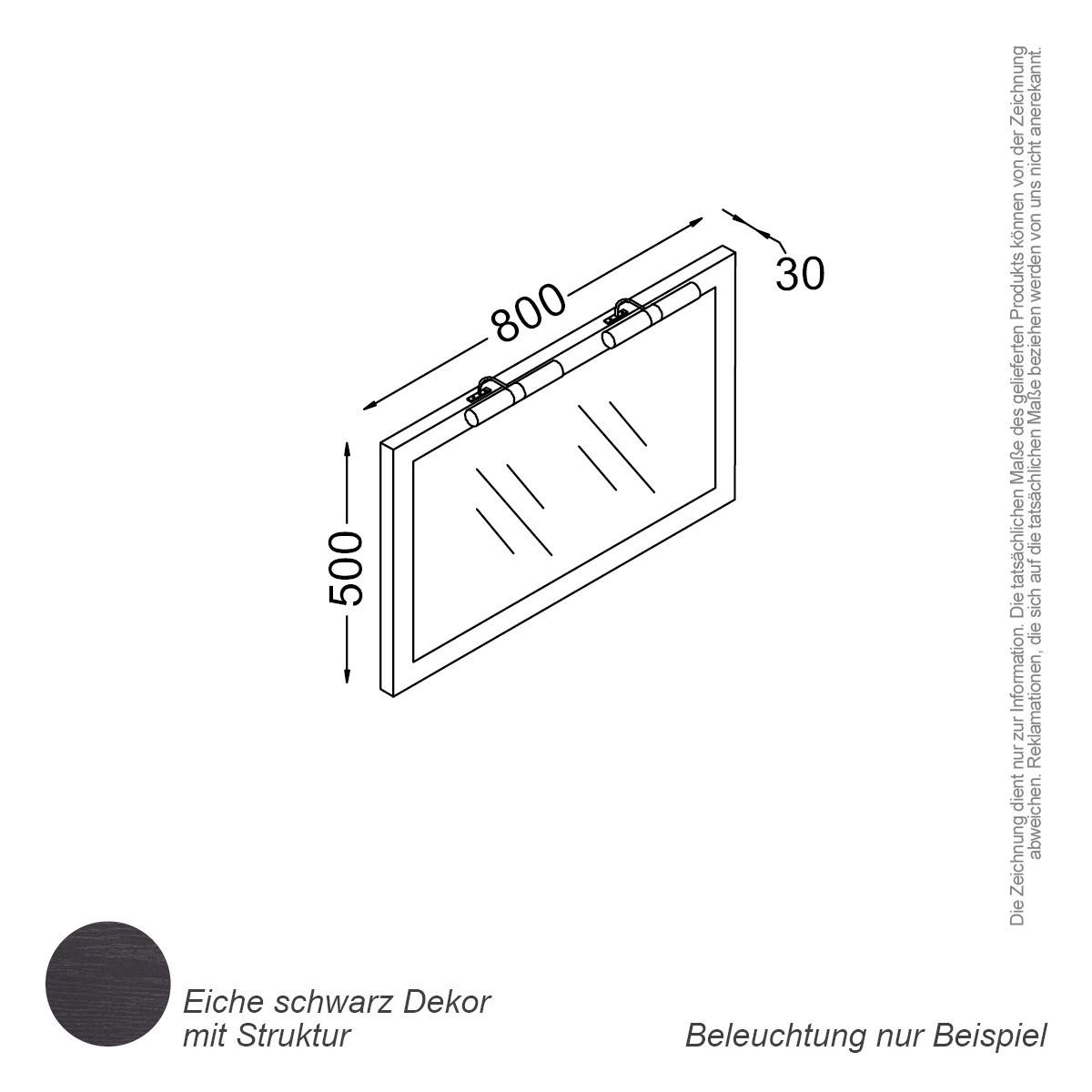 Spiegel 80 Cm Eiche Schwarz Badewelt Badezimmer Möbel