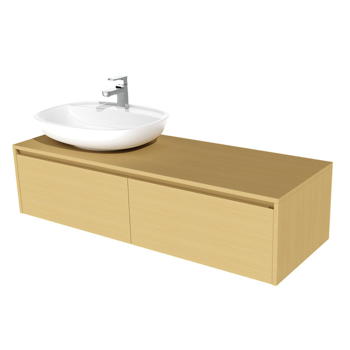 KZOAO Badezimmerserie St. Tropez Aufsatzwaschbecken mit Unterschrank 140 cm