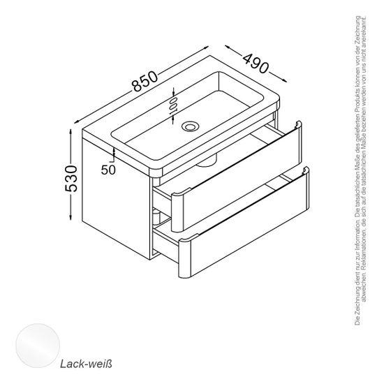 Berlin Waschtisch-Set 85 cm weiß – Bild 2