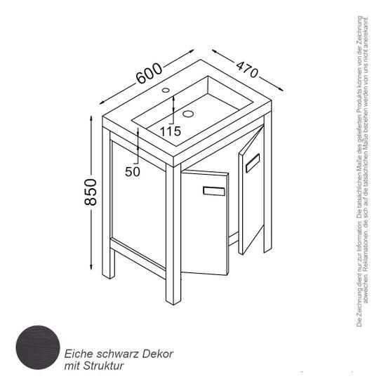 Barcelona Waschtisch-Set 60 cm Eiche schwarz – Bild 2