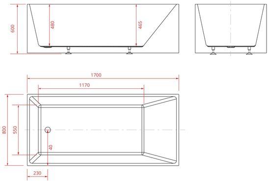 Freistehende Acrylwanne D-8016A-170 weiß – Bild 4