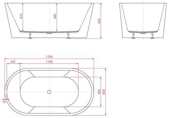 Freistehende Acrylwanne D-8015-170 weiß