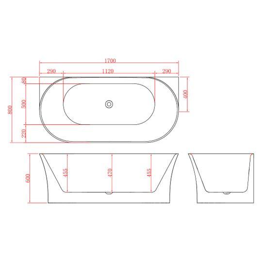 Freistehende Acrylwanne D-8320-170 weiß – Bild 6