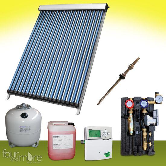 Komplettpaket 17,15 m² Solaranlage Vakuumröhrenkollektor Basis