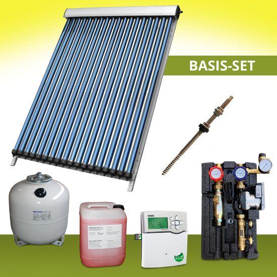 Komplettpaket 19,05 m² Solaranlage Vakuumröhrenkollektor Basis