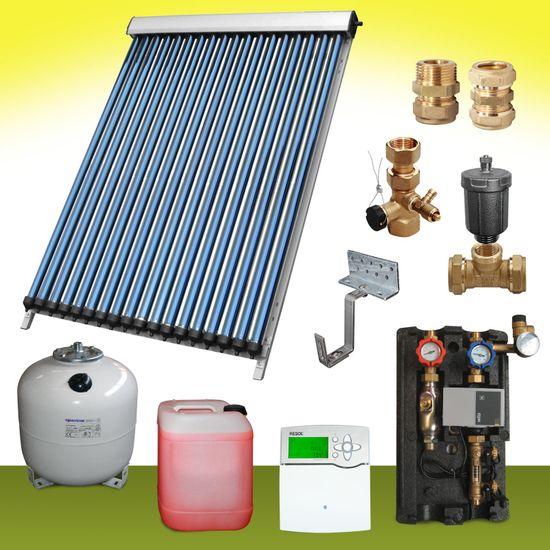 Komplettpaket 10,10 m² Solaranlage Vakuumröhrenkollektor Standard