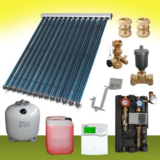 Komplettpaket 13 bis 15 m² Solaranlage Vakuumröhrenkollektor CPC