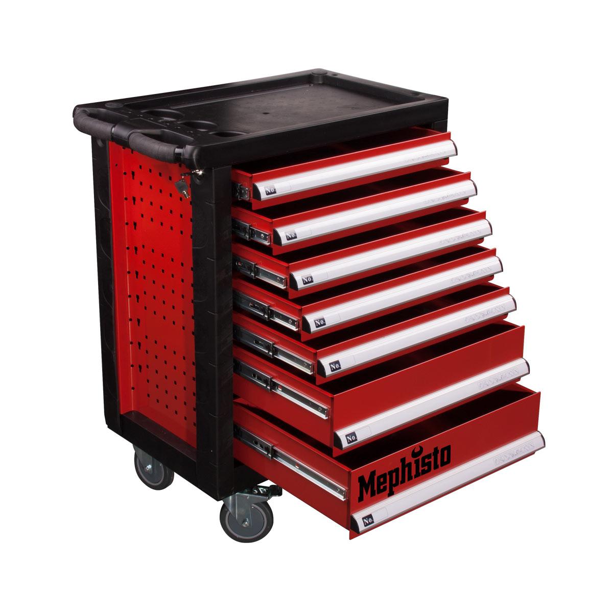 werkzeugwagen mit 7 schubladen inkl werkzeug haus und garten mephisto werkzeug. Black Bedroom Furniture Sets. Home Design Ideas